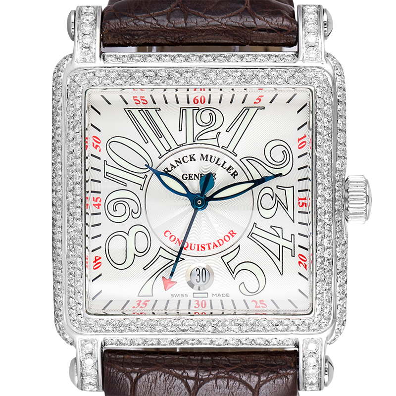 Franck Muller 10000 H SC Conquistador Diamond Set Brown Leather Strap