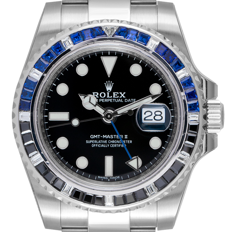 Rolex GMT-Master II Stainless Steel with Custom Black/Blue Bezel 116710BLNR