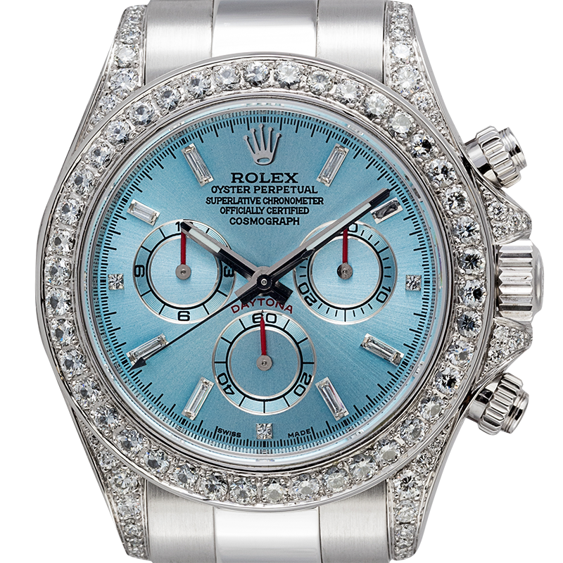 Rolex Daytona White Gold Ice/Diamonds Diamond Set Custom Watch 116509