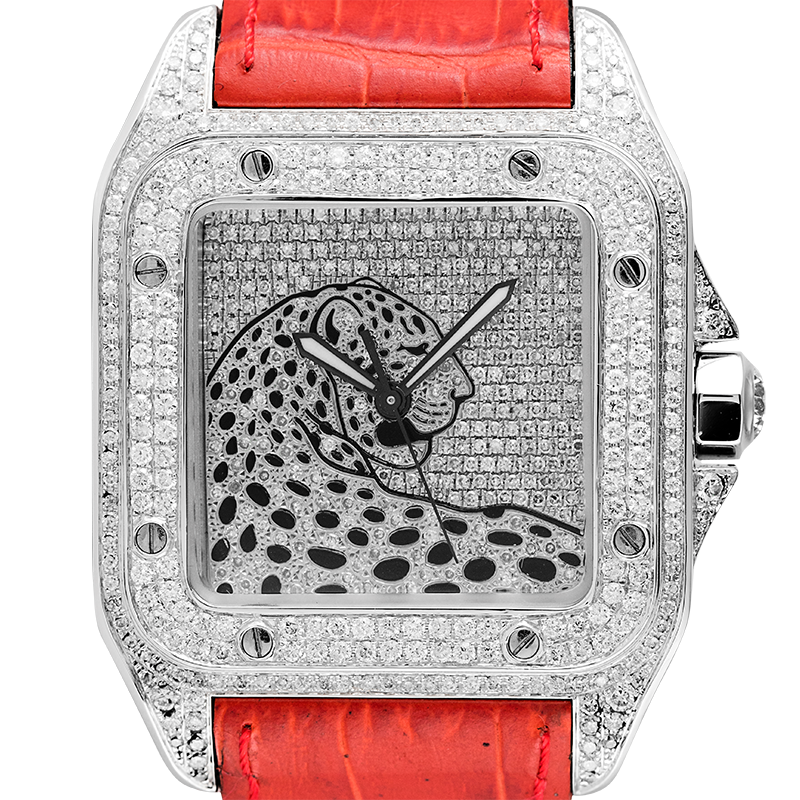 Cartier Santos 100 L Panthère Diamond Set Custom Watch Red Leather Strap W20073X8
