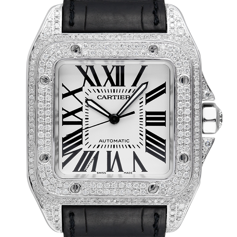 Cartier Santos 100 Large Diamond Set White Dial W20073X8