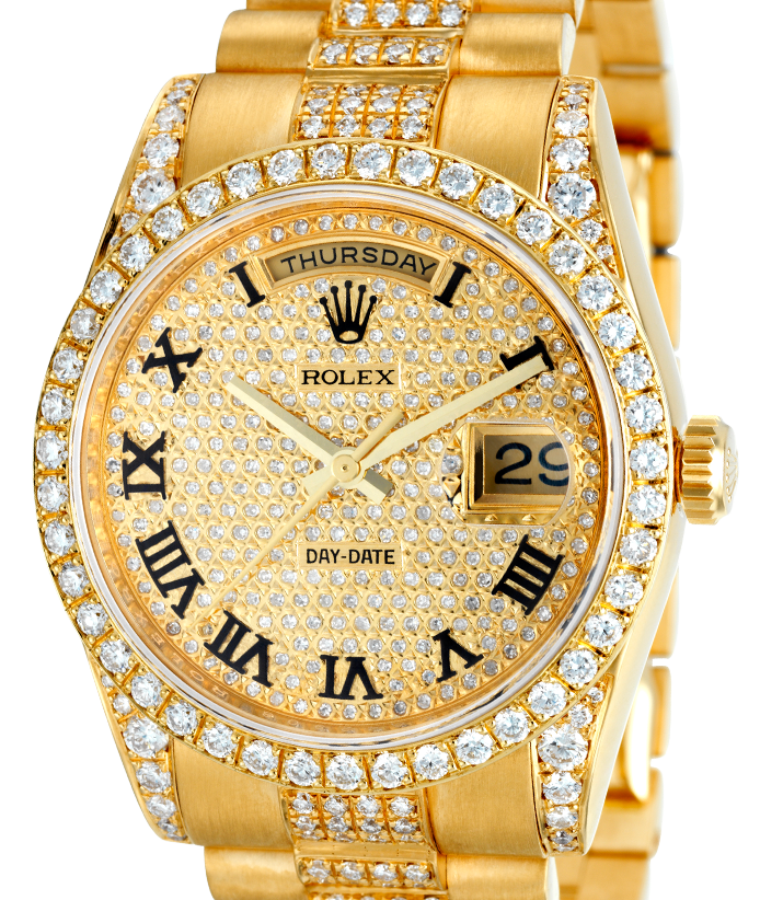 Rolex Day-Date President Yellow Gold Diamond Set Pavé Dial 118238