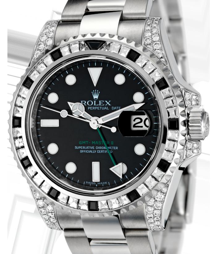 Rolex GMT-Master II Steel Baguette Diamond Bezel 116710LN