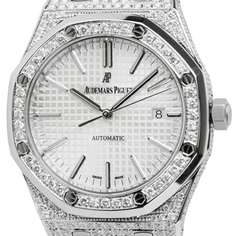 Audemars Piguet Royal Oak 41 Steel Watch Custom Diamond Set 15400ST.OO.1220ST.02