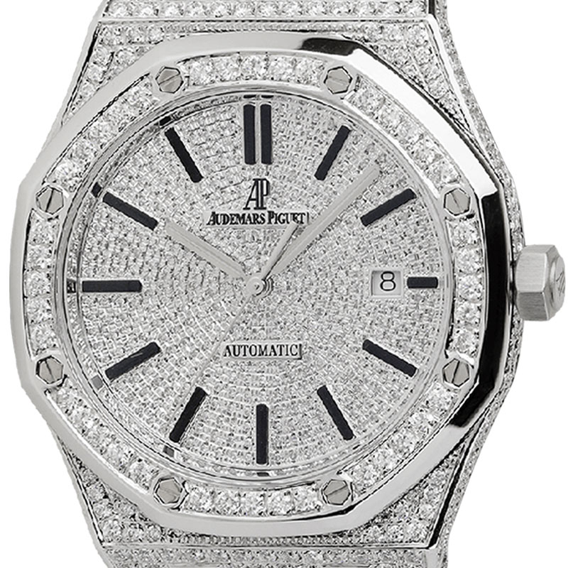 Audemars Piguet Royal Oak Full Diamond Set Custom Watch 15400ST.OO.1220ST.02