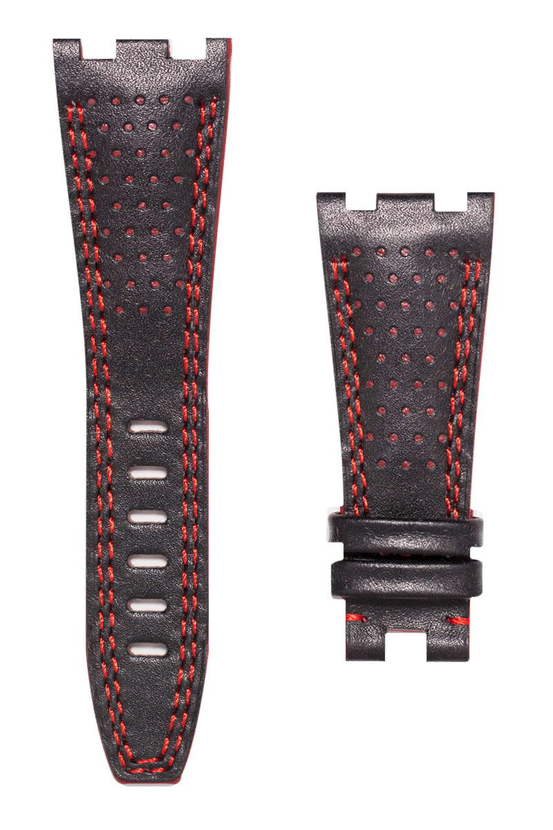 Audemars Piguet Royal Oak Offshore Doppio Buco Leather Race Custom Strap with Red Stitching 42mm