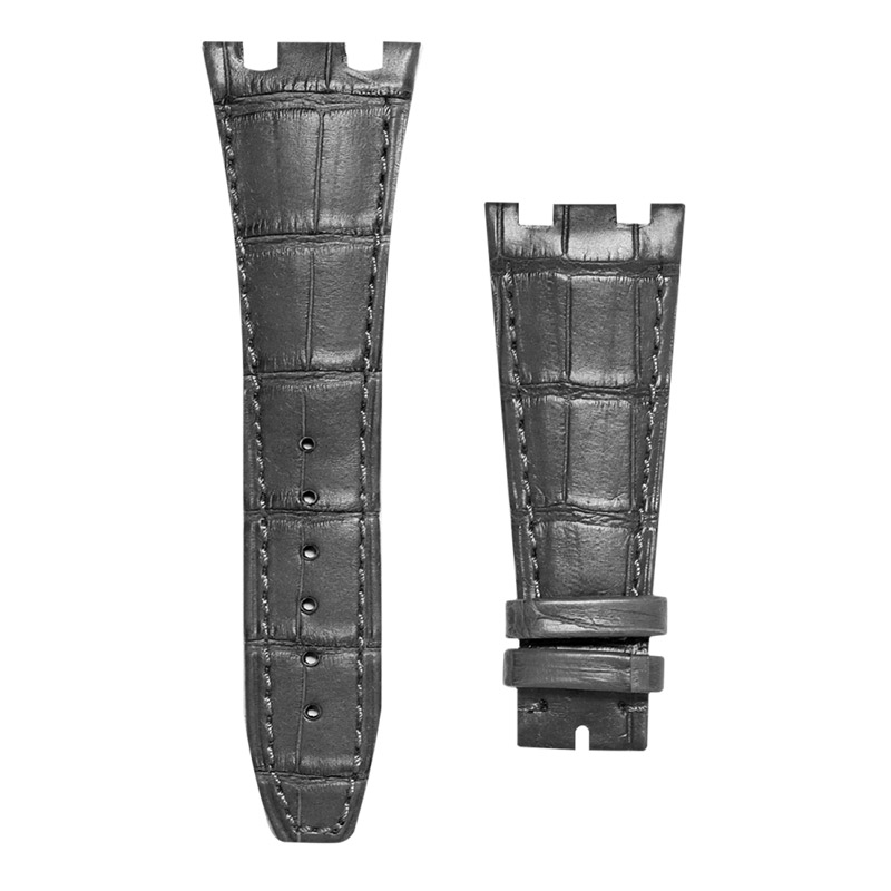 Audemars Piguet Royal Oak Offshore Black Alligator Leather Custom Strap with Black Stitching 42mm