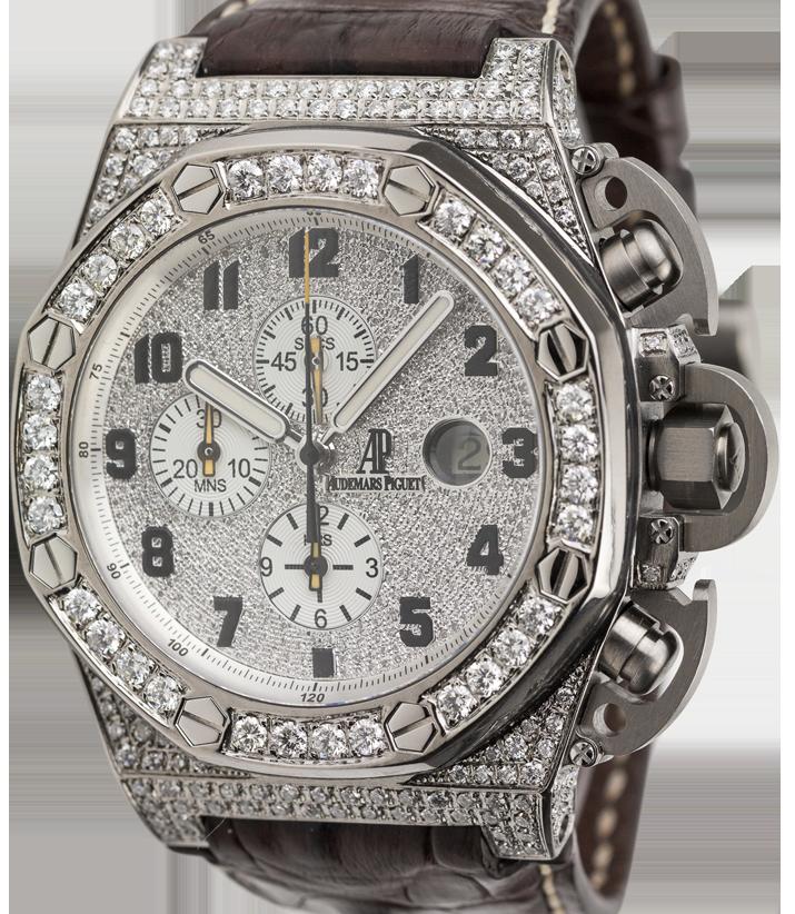 Audemars Piguet T3 Diamond Set Watch with Leather Strap 25863TI.OO.A001CU.01
