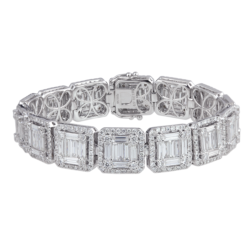T4D White Gold Diamond Squared Bracelet