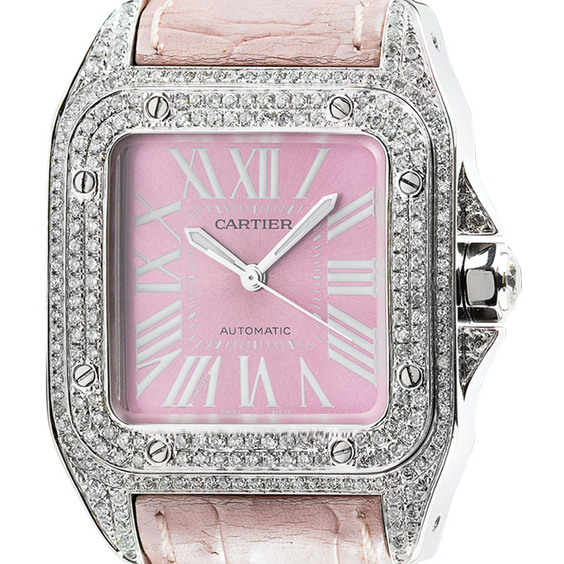 Cartier Santos 100 Midi Diamond Set Pink Dial and Leather Strap W20106X8