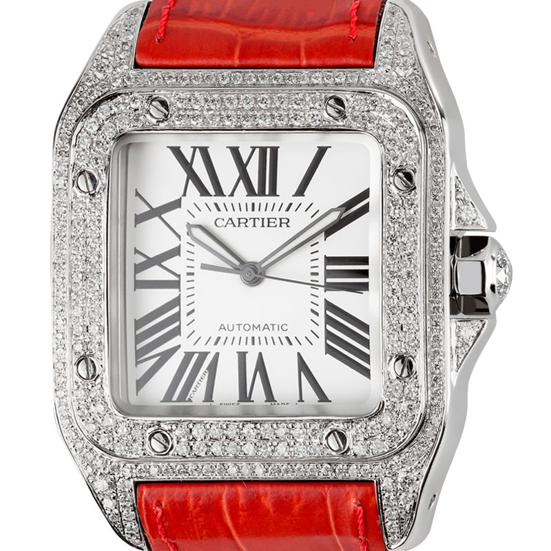 53ec5345c12 Cartier Santos 100 Large Diamond Set Red Leather Strap W20073X8