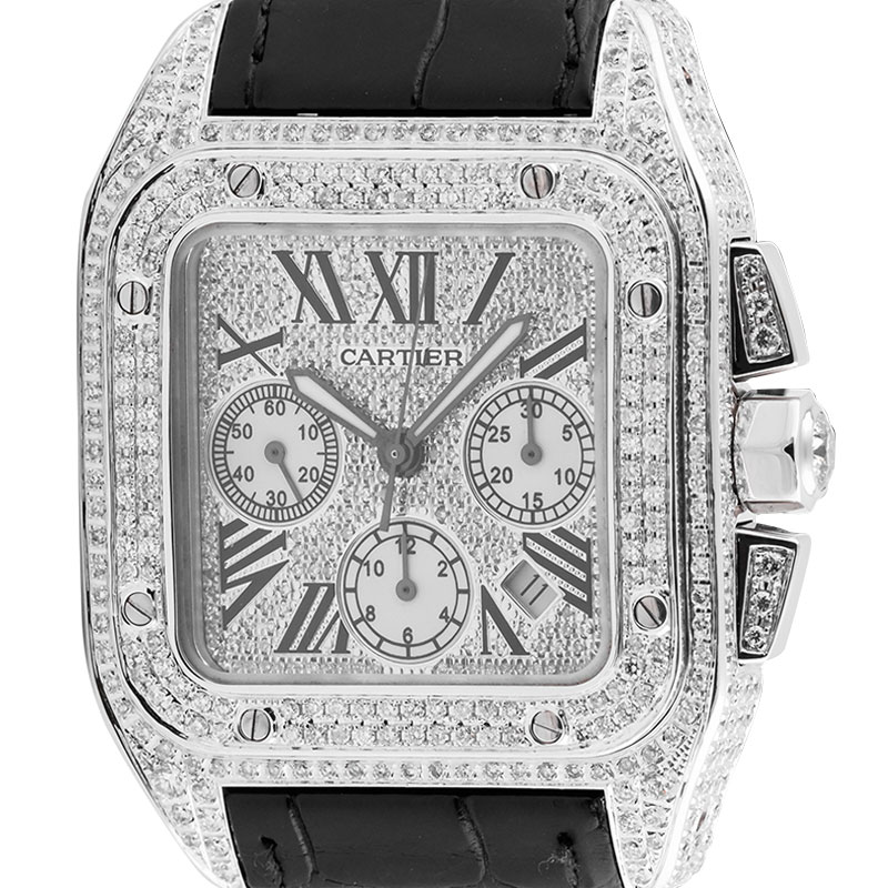 Cartier Santos 100 XL Chronograph Custom Diamond Set Watch W20090X8