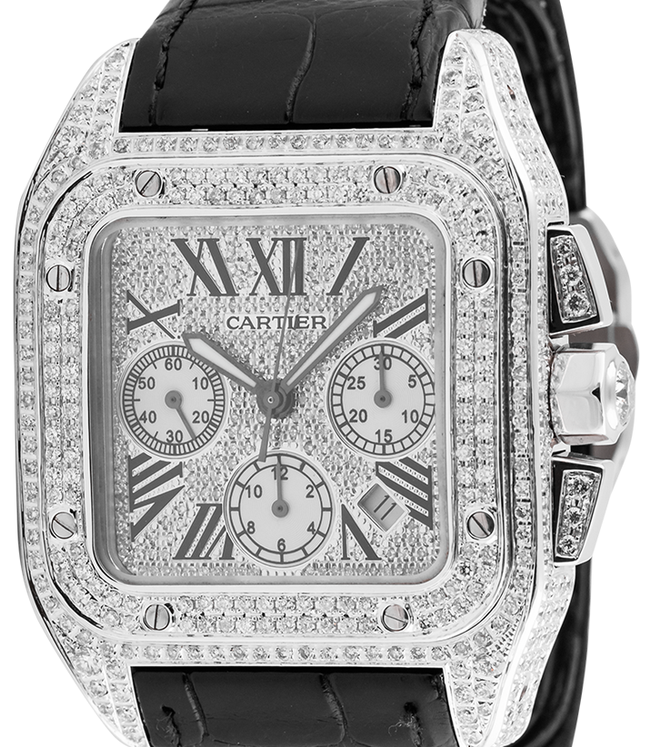 Cartier Santos 100 XL Chronograph Custom Diamond Set Watch W20090X8