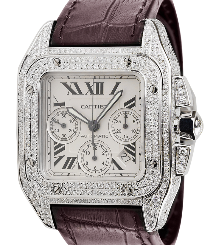 Cartier Santos 100 XL Chronograph Diamond Set Watch W20090X8