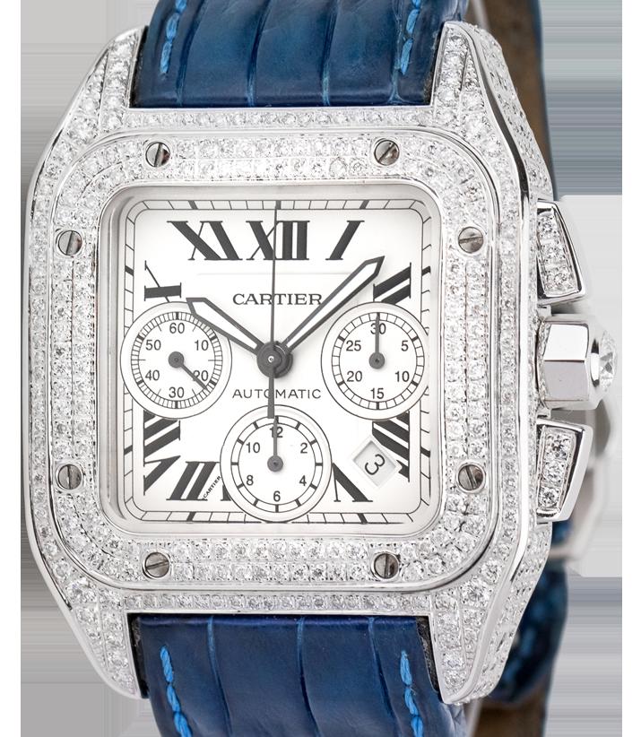 Cartier Santos 100 XL Chronograph Diamond Set Watch Blue Leather Strap W20090X8