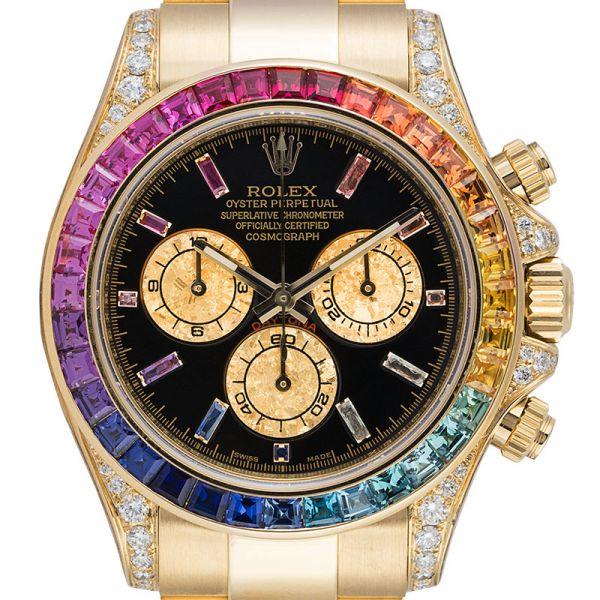 Rolex Daytona 18ct Yellow Gold Diamond Set Custom Rainbow 116508