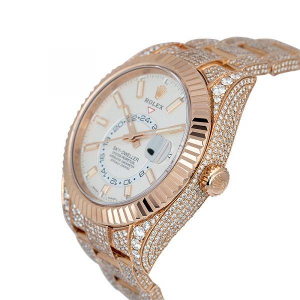 Diamond Set Rolex Sky-Dweller Rose Gold White Dial 326935