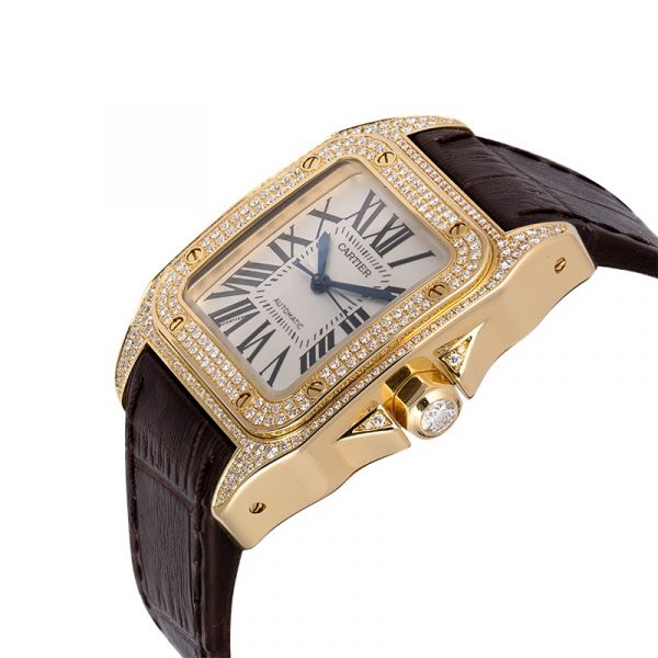 Cartier Santos 100 Midi Yellow Gold Factory Diamond Set WM502051