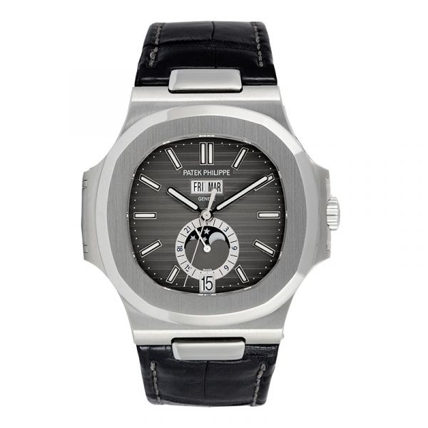Pre-Owned Patek Philippe Nautilus Stainless Steel & Leather 5726A-001