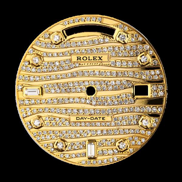 Rolex Day-Date 41mm Gold Wave Design Diamond Set Custom Dial