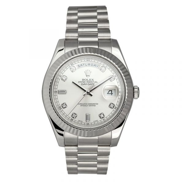 Rolex Day-Date II 18ct White Gold Silver/Diamond Dial 218239