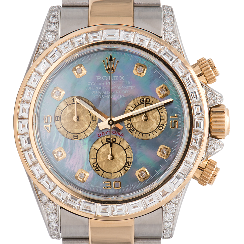 Rolex Cosmograph Daytona Stainless Steel & Yellow Gold Diamond Set MOP Dial 116523