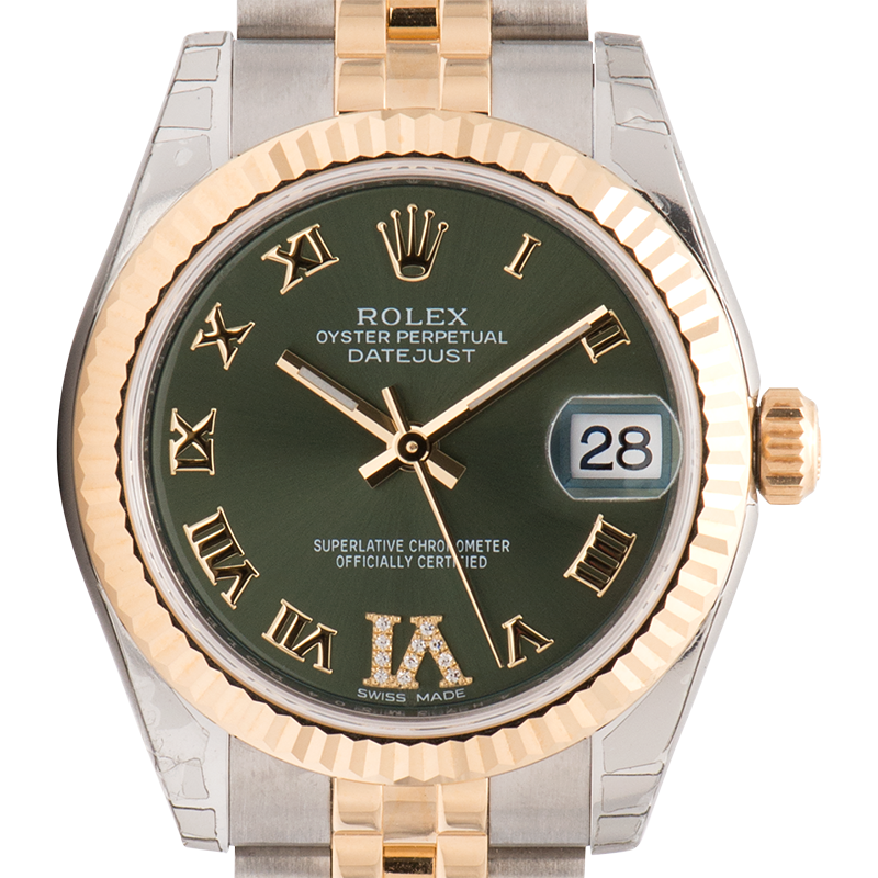 Rolex Lady DateJust 31mm Yellow Gold and Steel Olive/Roman Dial 178273