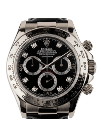 Rolex Cosmograph Daytona White Gold Leather Strap Diamond Hour Markers 116519