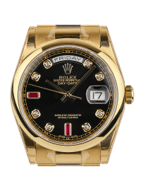 Rolex Day-Date 36mm Yellow Gold Black/Diamond President 118208