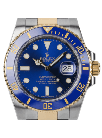 Rolex Submariner Stainless Steel and Yellow Gold Watch with Blue Dial 116613LB