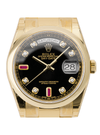 Rolex Day-Date 36mm Yellow Gold Black/Diamond Oyster 118208