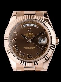Rolex Day-Date II 41mm Rose Gold Chocolate/Roman President 218235