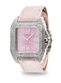 Cartier Santos 100 Midi Diamond Set Pink Dial and Leather Strap W20106X8