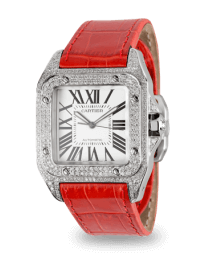 Cartier Santos 100 Large Diamond Set Red Leather Strap W20073X8