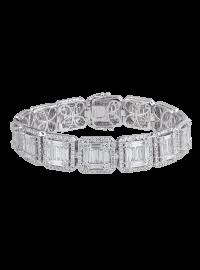 T4D White Gold Diamond Squared Bracelet