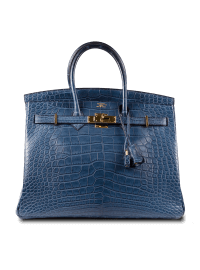 Hermes Blue Porosus Crocodile Leather Bag