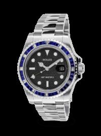 Rolex GMT-Master II Steel Blue Sapphire Bezel Black Pavé Dial Custom 116710LN
