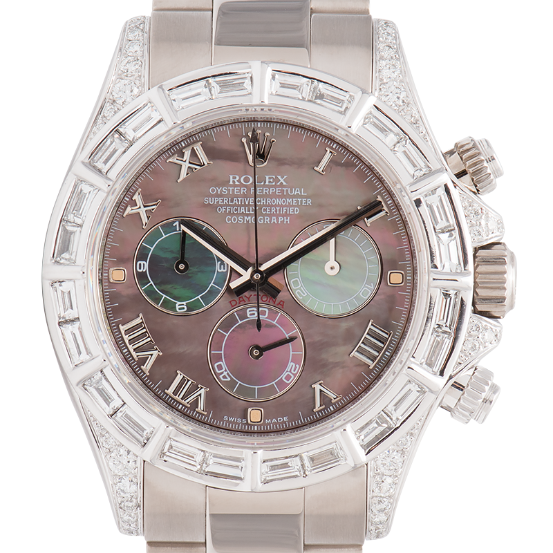 Rolex Cosmograph Daytona White Gold Diamond Set Tahiti Mother of Pearl Dial 116509