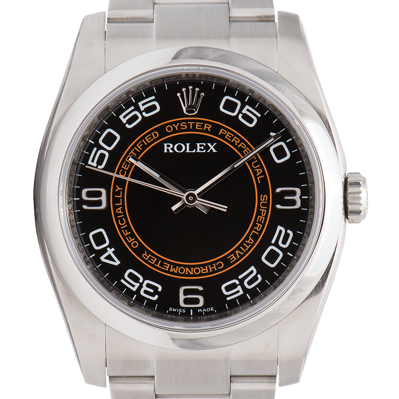 Rolex Oyster Perpetual 36mm Stainless Steel Orange/Black Dial Oyster 116000