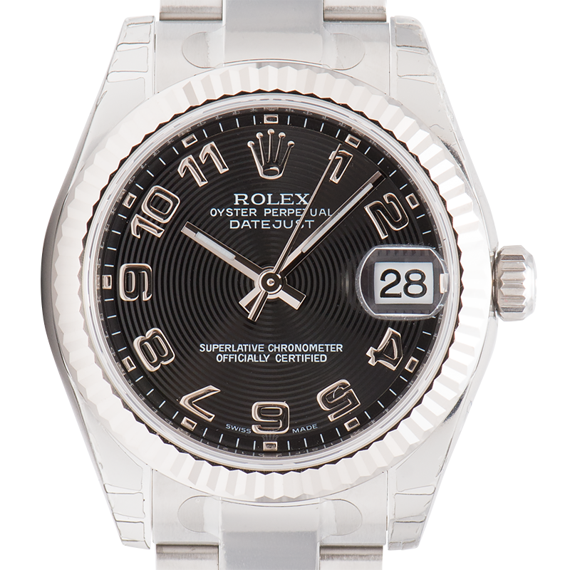 Rolex Lady DateJust 31mm Steel Black Concentric Circle Dial Oyster 178274