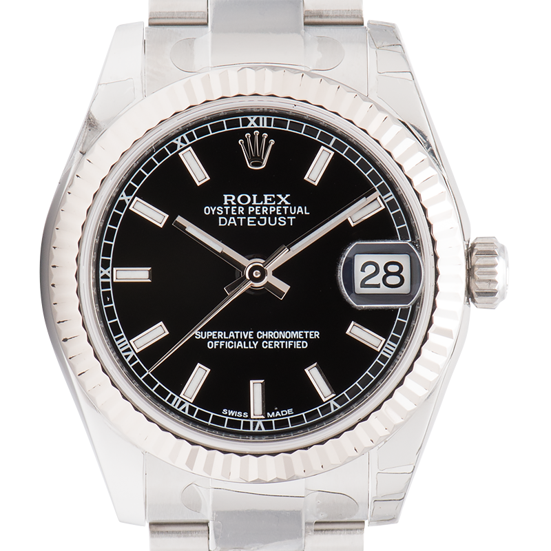 Rolex Lady DateJust 31mm Steel Black Dial Oyster 178274