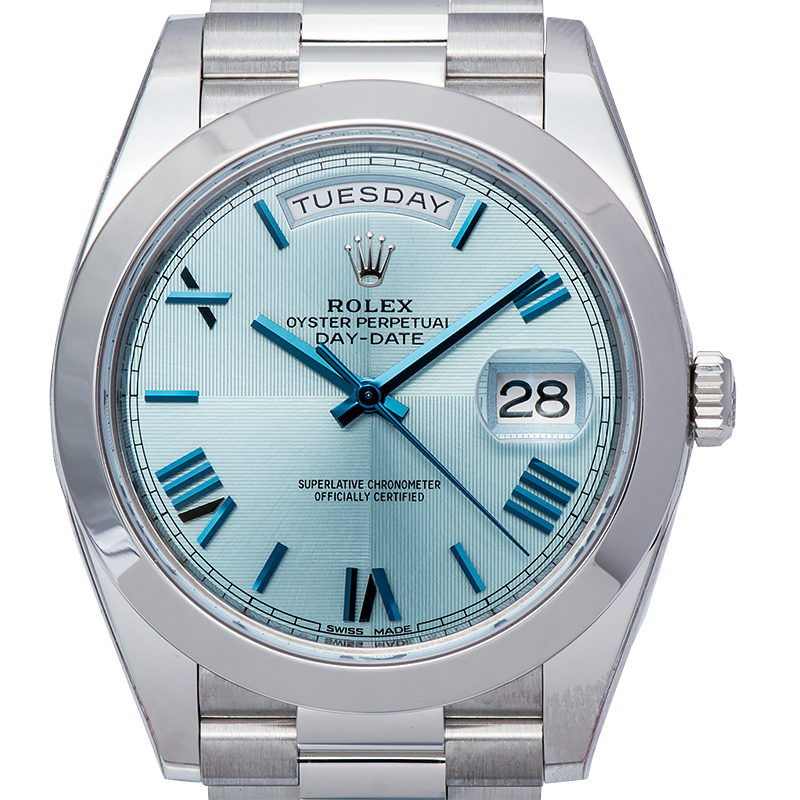Rolex Day-Date 40mm Platinum Ice Blue Roman Dial 228206