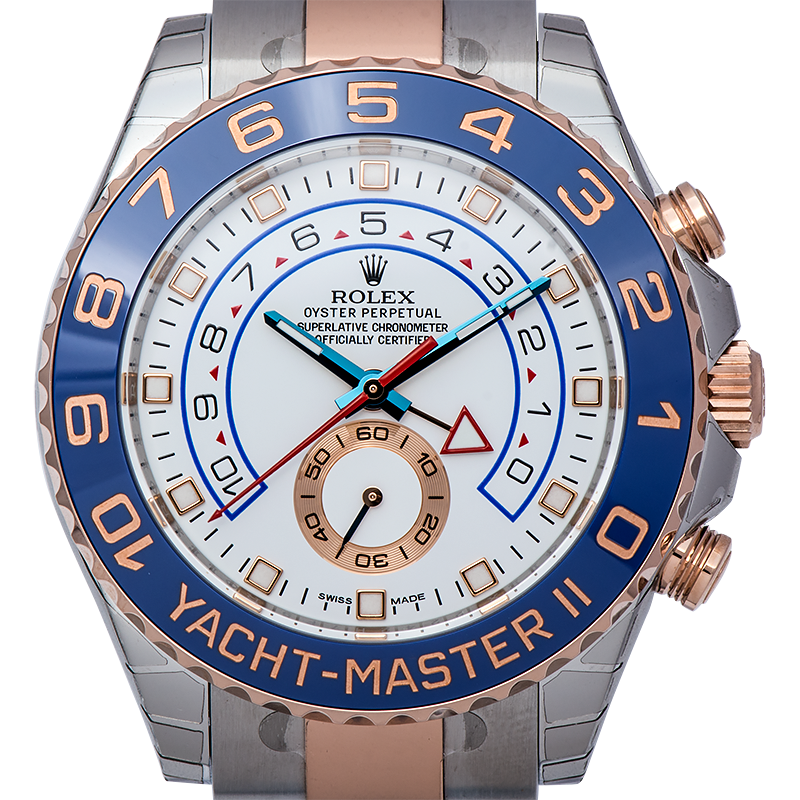 Rolex Yachtmaster II Rose Gold and Steel White Dial 116681