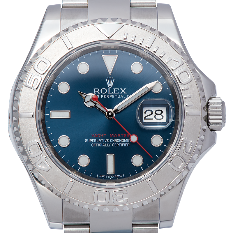 Rolex Yachtmaster 40 Steel and Platinum Blue Dial 116622