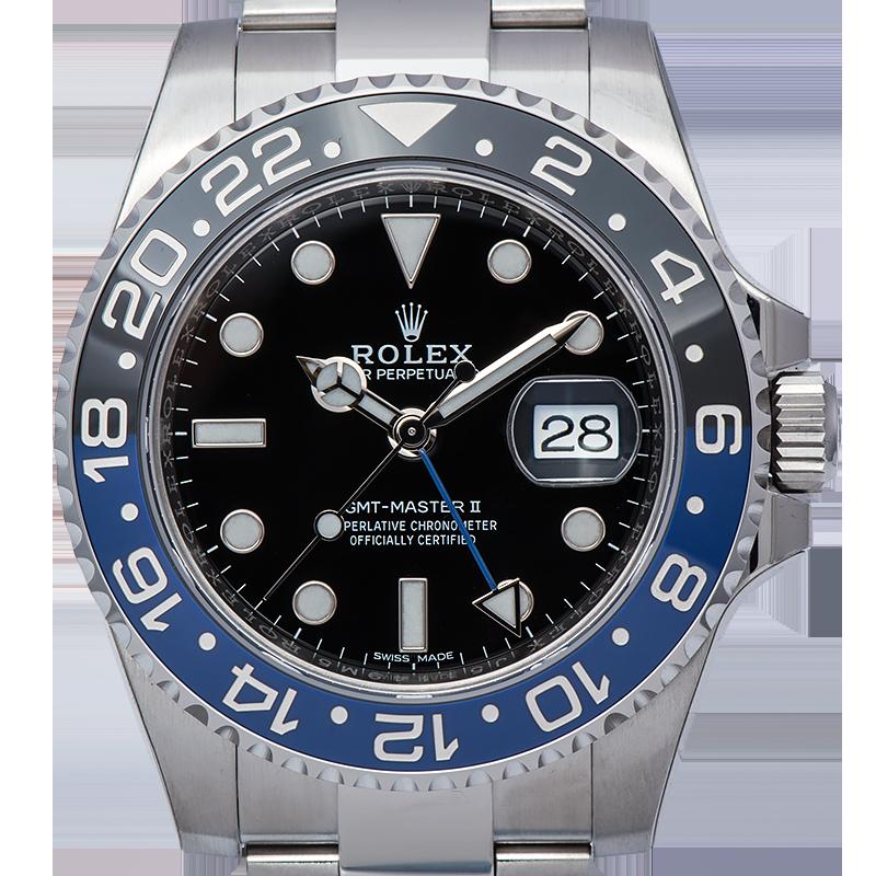 """Rolex GMT-Master II """"Batman"""" Stainless Steel Watch 116710BLNR"""