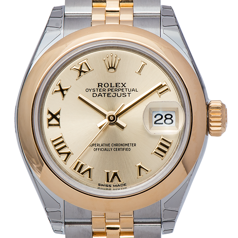 Rolex Lady-DateJust 28 Yellow Gold & Steel Champagne Roman Dial 279163