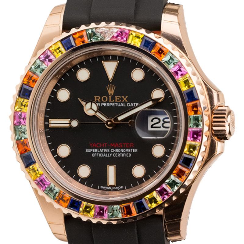Rolex Yacht Master 18k Rose Gold with Custom Multicolor Gem Set Bezel 116555