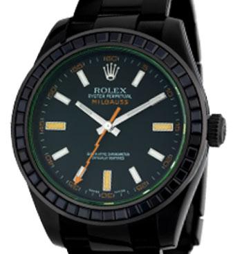 Rolex Milgauss Black PVD Coated Watch with Black Precious Stones Bezel 116400GV