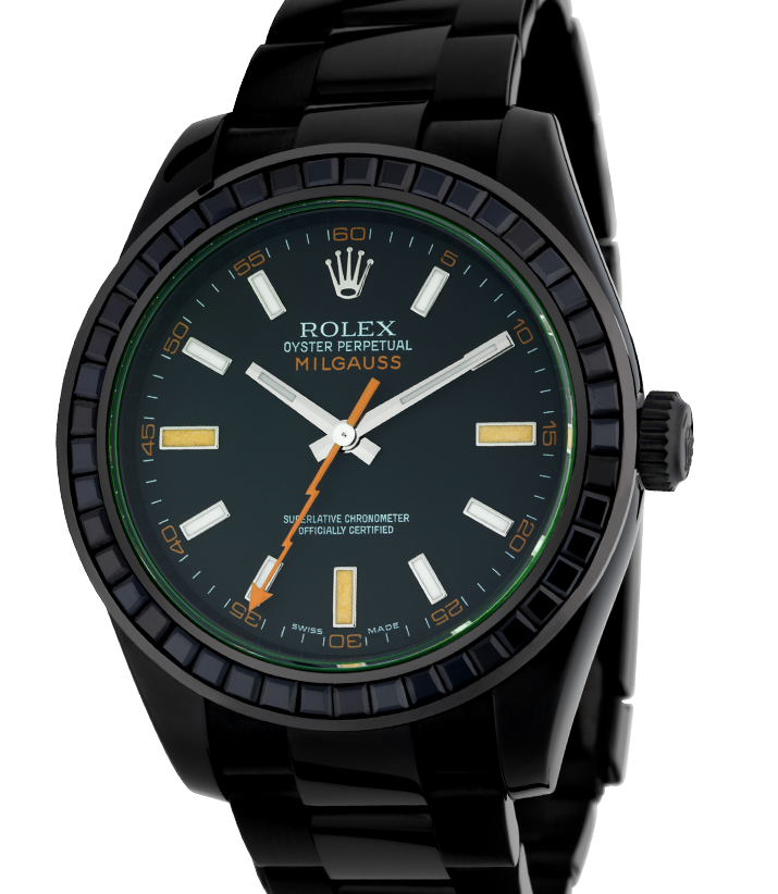 Rolex Milgauss Black PVD Coated Watch with Black Precious Stones Bezel 116400GV