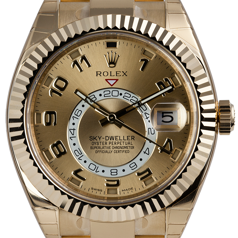 Rolex Sky-Dweller Yellow Gold Champagne Arab Oyster 326938
